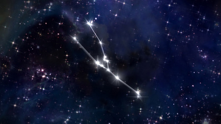 sky night: the zodiac sign of the beautiful bright stars on the background night sky Stock Photo