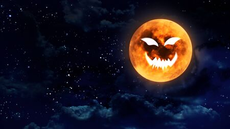 atmosphere: pumpkin face laughing icon with halloween moon