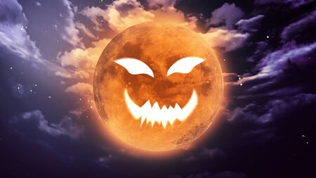pumpkin face: pumpkin face laughing icon with halloween moon