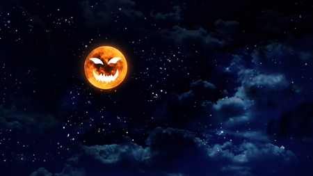 purple stars: pumpkin face laughing icon with halloween moon