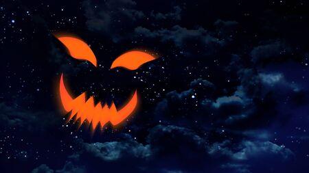 riendose: la cara de la calabaza de risa en el cielo nocturno con estrellas de fondo