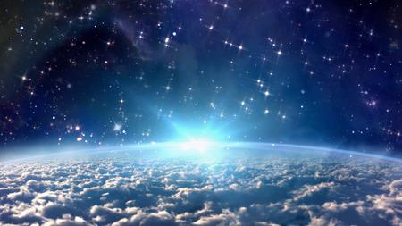 nacimiento de jesus: la vista desde la tierra de la noche estrellada con el concepto de la estrella del zodiaco