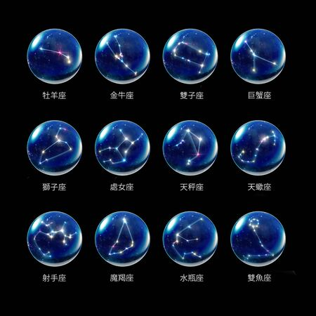 star signs: starry night star crystal ball of Horoscopes and Zodiac Signs