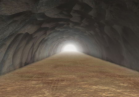 horrible: the horrible cave rock tunnel  Stock Photo