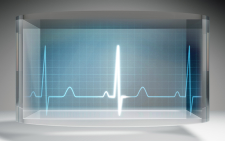 heart background: The futuristic liquid crystal display for EKG monitor medical theme