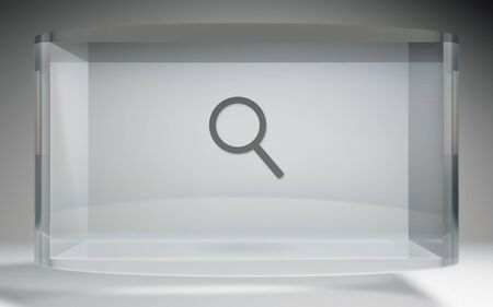 The futuristic crystal Display of search engine icon background image