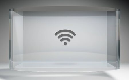 media equipment: The futuristic crystal Display of wifi icon background image