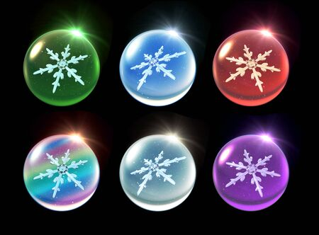 december holidays: snowflake in ice crystal ball background for Christmas celebration theme