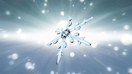 ice crystal: Ice crystal snowflake background for Christmas celebration theme