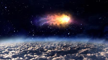 pleiades: orbit meteor air bursts in the space.