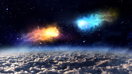 meteors: two orbit meteors almost crash in the space. Stock Photo
