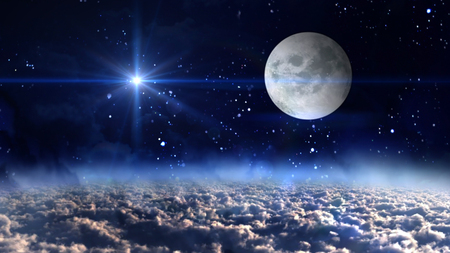 star sky: starry star night with full moon in cloudscape