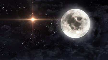 noche y luna: estrellado estrellas con luna llena en celaje Foto de archivo
