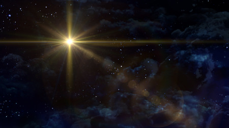 nativity background: A Bethlehem illuminated by the Christmas star of Christ Stock Photo