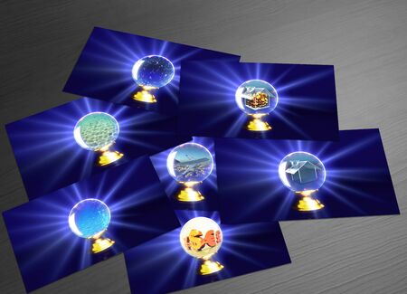 divination: fortune teller cards representing the future of divination Stock Photo