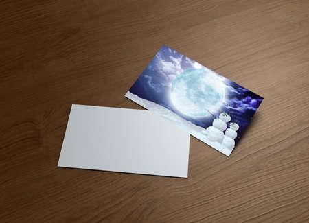 greeting season: season greeting cards of snowman Couple can use for Christmas concept