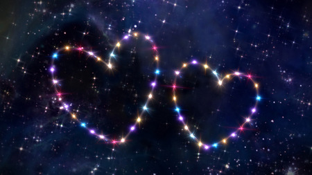 love explode: starry night in space background with heart shape forming from stars