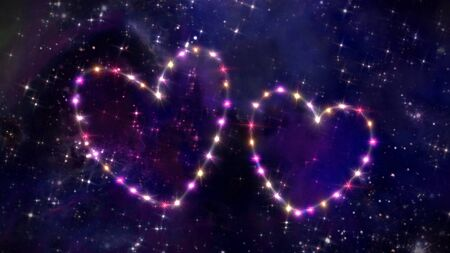 romance sky: starry night in space background with heart forming from stars Stock Photo