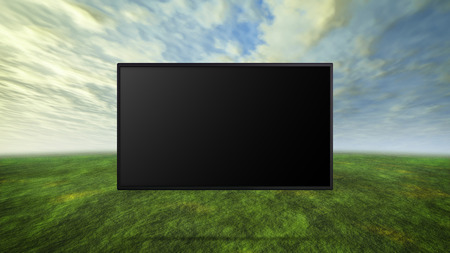 tv panel: led tv display on wild represent the Environmental Protection and green concept Stock Photo