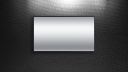 blank screen: blank wide screen TV on black wall for promotion display