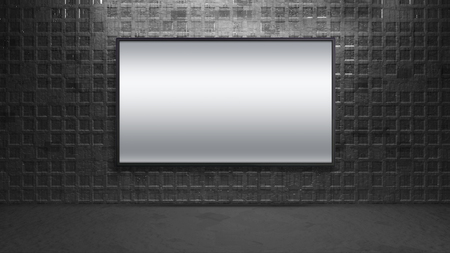 flat display panel: blank wide screen TV on brick wall for promotion display