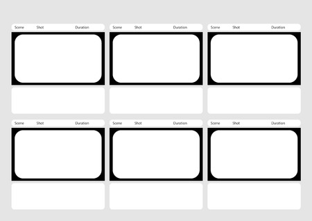 storyboard: Professional of  HD 1920 x 1080 16:9 storyboard template is convenience to present the storyline to client. A4 design of paper ratio is easy to fit for print out. Illustration