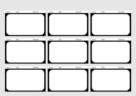 film title: Professional of  HD 1920 x 1080 16:9 storyboard template is convenience to present the storyline to client. A4 design of paper ratio is easy to fit for print out. Illustration