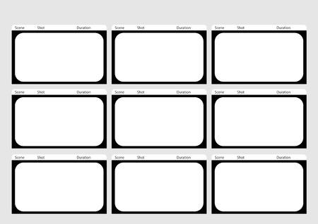 Professionale di HD 1920 x 1080 16: 9 modello storyboard è convenienza per presentare la storia di cliente. disegno A4 del rapporto di lavoro è facile da montare per la stampa.