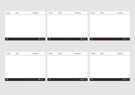 storyboard: Professional of online video player HD 1920 x 1080 16:9 storyboard template is convenience to present the storyline to client. A4 design of paper ratio is easy to fit for print out.