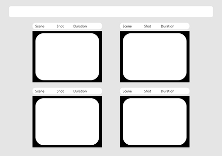 film title: Professional of traditional tv 4:3 ntsc and pal storyboard template is convenience to present the storyline to client. A4 design of paper ratio is easy to fit for print out.