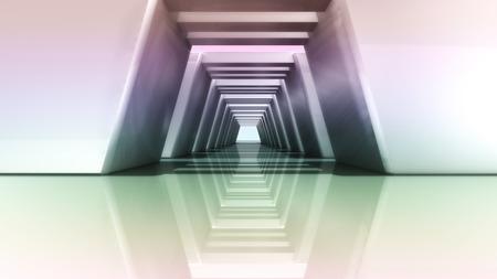 lighting column: futuristic design of Corridor interior with metal materials Stock Photo