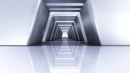 futuristic interior: futuristic design of Corridor interior with metal materials Stock Photo