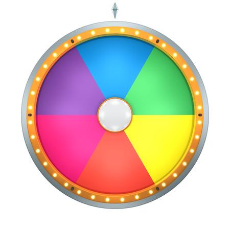 Lucky draai vertegenwoordigen het rad van fortuin concept. Dit grafisch is het creëren van Three Dimensional. Welkom te voegen op een tekst en prijs voor gebruik in het spel of de verkoop promotie. Stockfoto