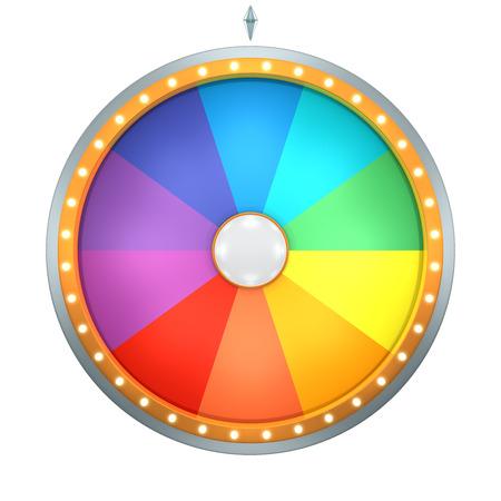 Lucky spin vertegenwoordigen het rad van fortuin concept. Deze afbeelding is gemaakt door Three Dimensional. Welkom bij het toevoegen van tekst en prijzen voor gebruik in game- of verkooppromotie. Stockfoto