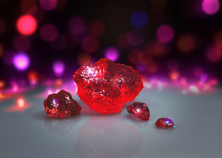 raw material: 3d rendering of abstract crystal stone with Light bokeh background Stock Photo