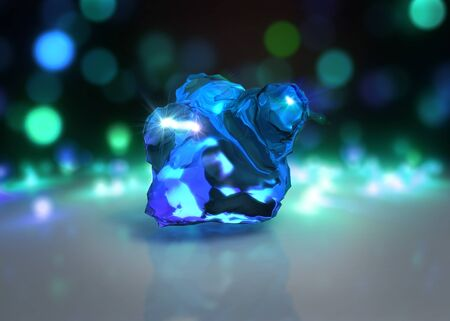 gemstone: 3d rendering of abstract crystal stone with Light bokeh background Stock Photo