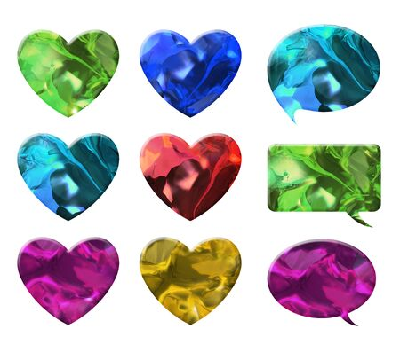 crystal heart: crystal texture of heart and chat bubble shape