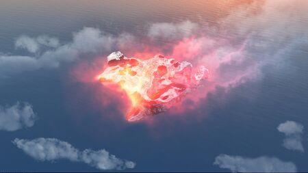 red eye: Birds eye view red meteorite falling to ocean