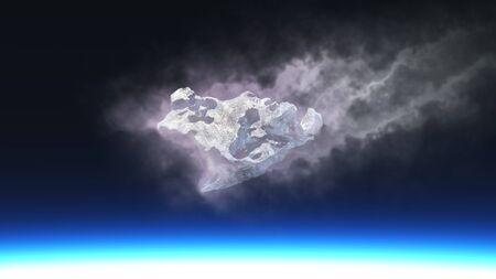 3D render of burning meteorite falling to planet