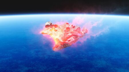 3D render of burning red fire meteorite falling to earth