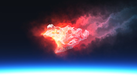 destroy: 3D render of burning red fire meteorite falling to planet Stock Photo
