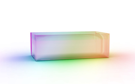 abstract rainbow: color glass material shoes box by 3D rendering