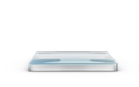 base of square glass stand for products display by 3D rendering