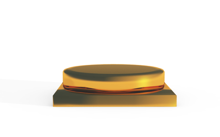 golden color: base of golden color stand for products display by 3D rendering Stock Photo