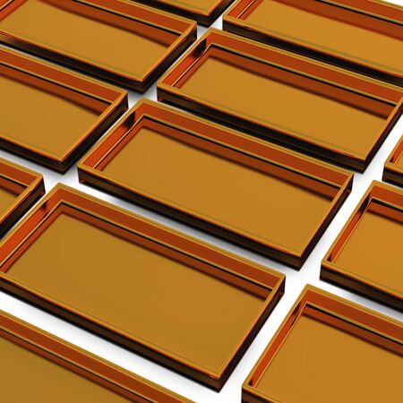 plated: golden material of rectangle trays by 3D rendering