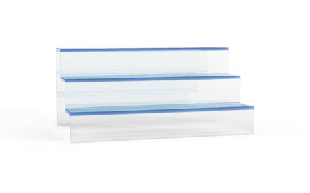 countertop: three tier of glass display stand by 3D rendering