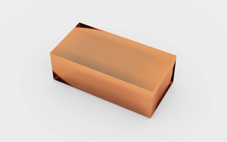 plated: copper material of rectangle solid box by 3D rendering Stock Photo