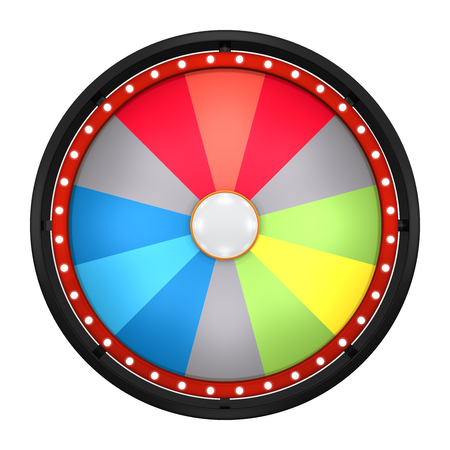 wheel of fortune: 3d illustration of lucky spin represent the wheel of fortune concept. Three dimensional wheel graphic for use in game or sale promotion. Stock Photo