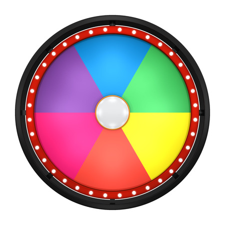 3d illustration of lucky spin represent the wheel of fortune concept. Three dimensional wheel graphic for use in game or sale promotion. Stock Photo