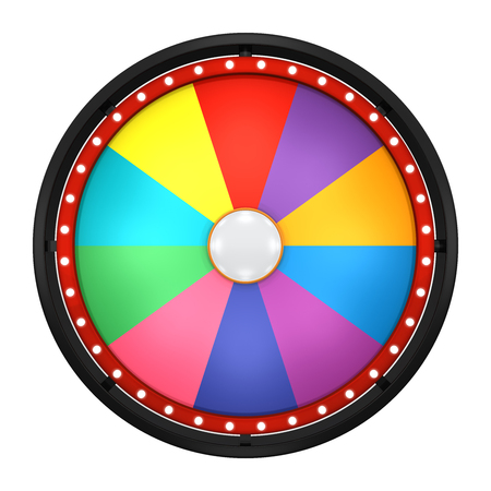 wheel spin: 3d illustration of lucky spin represent the wheel of fortune concept. Three dimensional wheel graphic for use in game or sale promotion. Stock Photo